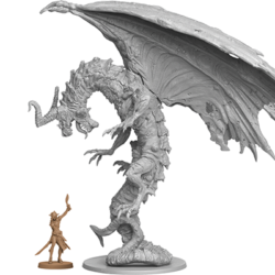 Resin master figure of the Necromantic Dragon, with Seli for scale.